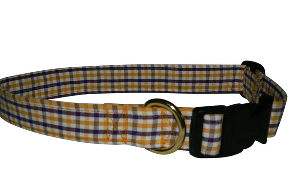 Elmo's Closet Gold & Purple Gingham Dog Collar