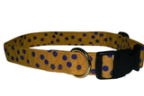 Elmo's Closet Gold With Purple Dots Dog Collar
