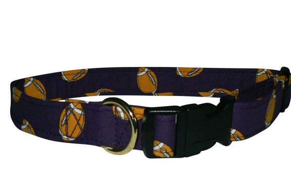 Elmo's Closet Gold & Purple Footballs Dog Collar