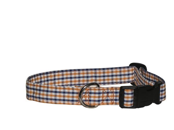 Elmo's Closet Orange & Blue Gingham Dog Collar