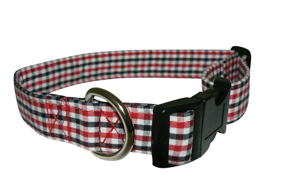 Elmo's Closet Red & Black Gingham Dog Collar