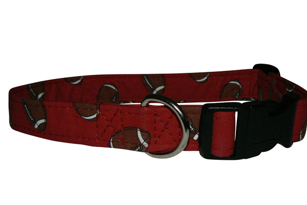 Elmo's Closet Footballs On Red Dog Collar