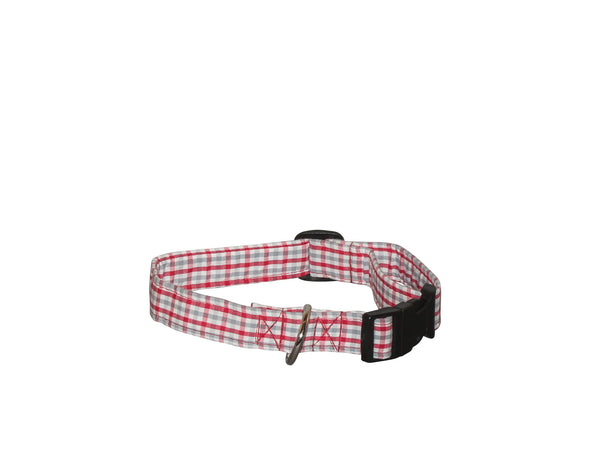 Elmo's Closet Red & Gray Gingham Dog Collar