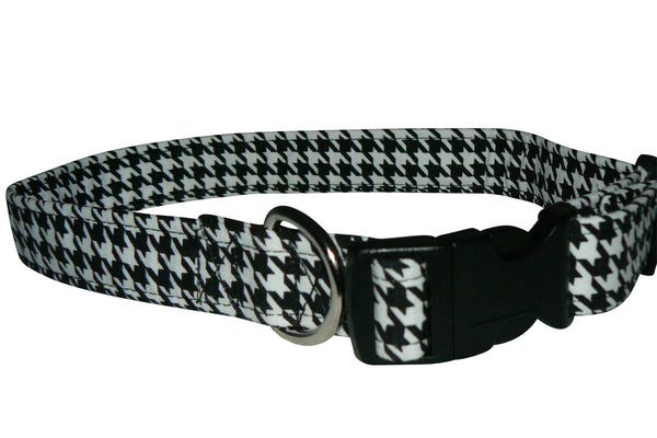Elmo's Closet Black & White Houndstooth Dog Collar