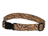Elmo's Closet Purple & Gold Tiger Stripe Dog Collar