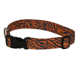 Elmo's Closet Blue & Orange Tiger Stripe Dog Collar