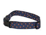 Elmo's Closet Blue With Orange Dots Dog Collar