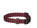 Elmo's Closet Red & Black Chevron Dog Collar