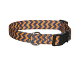 Elmo's Closet Orange & Blue Chevron Dog Collar