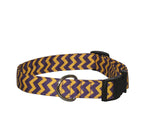 Elmo's Closet Purple & Gold Chevron Dog Collar