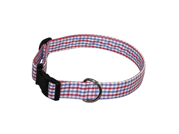 Elmo's Closet Red & Blue Gingham Dog Collar