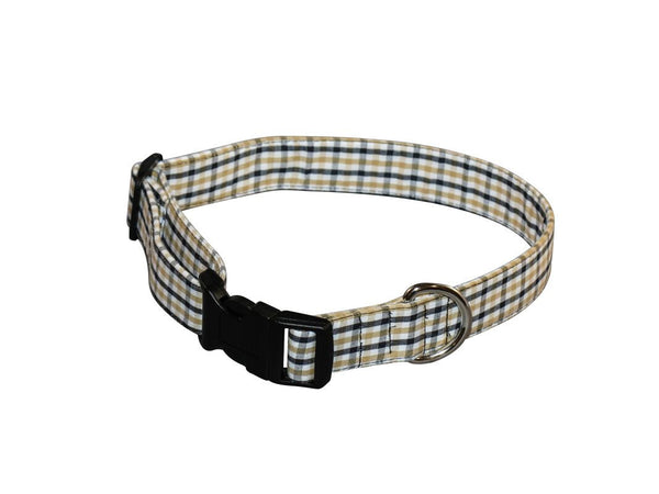 Elmo's Closet Yellow & Black Gingham Dog Collar