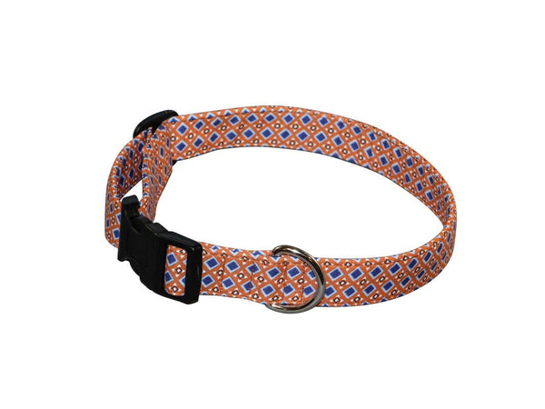 Elmo's Closet Orange & Blue Foulard Dog Collar