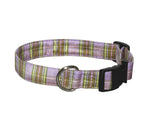 Elmo's Closet Silk Dog Collar - Lavender Plaid