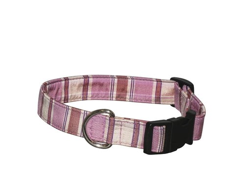 Elmo's Closet Silk Dog Collar - Pink Plaid