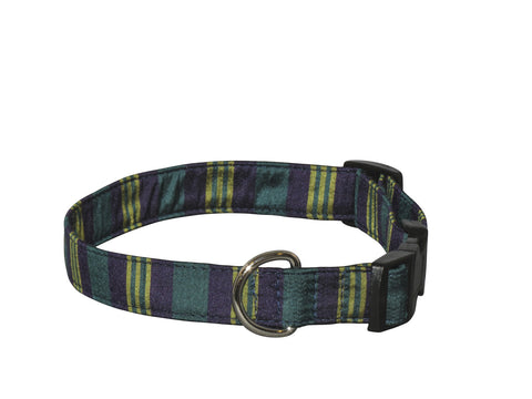 Elmo's Closet Silk Dog Collar - Navy Stripe