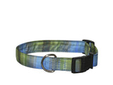 Elmo's Closet Silk Dog Collar - Blue & Green Plaid