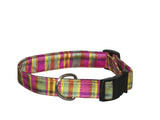 Elmo's Closet Silk Dog Collar - Fuchsia Plaid