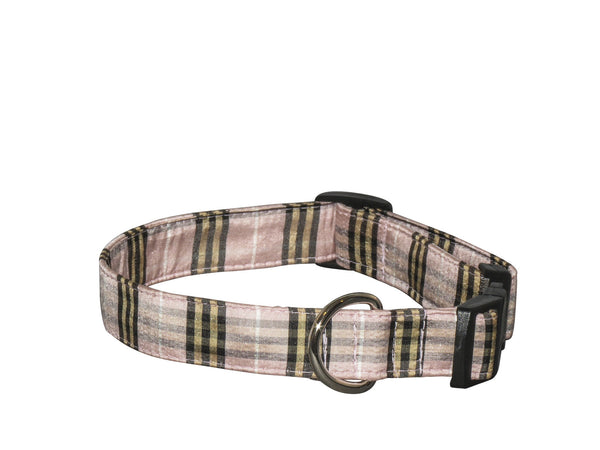 Elmo's Closet Silk Dog Collar - Light Pink Plaid