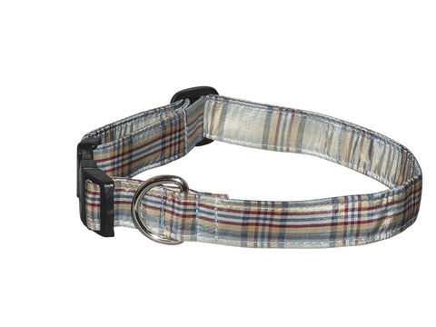 Elmo's Closet Silk Dog Collar - Teal Plaid