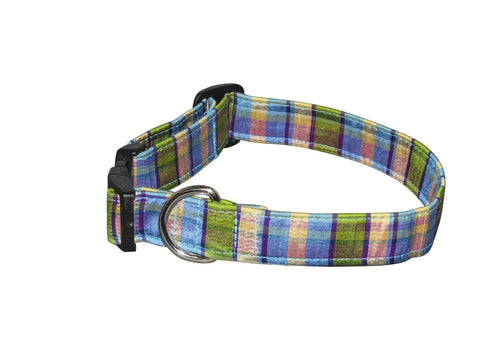 Elmo's Closet Silk Dog Collar - Aqua & Lime Plaid