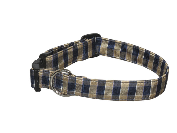 Elmo's Closet Silk Dog Collar - Navy & Tan Plaid