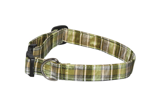 Elmo's Closet Silk Dog Collar - Green & Gray Plaid