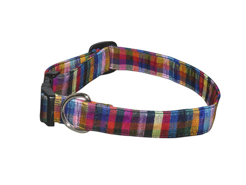 Elmo's Closet Silk Dog Collar - Multi Plaid