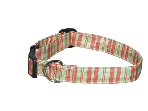 Elmo's Closet Silk Dog Collar - Salmon & Mint Stripe