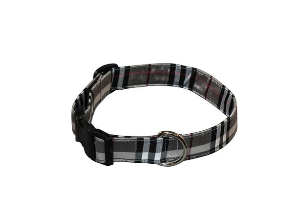 Elmo's Closet Silk Dog Collar - Silver Plaid - Medium (Outlet Sale Item)