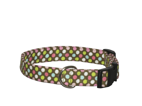 Elmo's Closet Pastel Dots Dog Collar