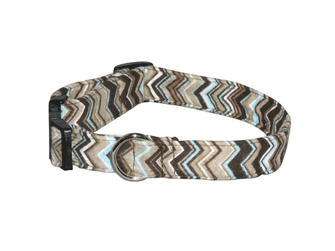 Elmo's Closet Blue & Brown Chevron Dog Collar