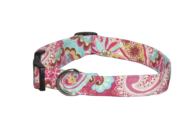 Elmo's Closet Pink & Teal Paisley Dog Collar