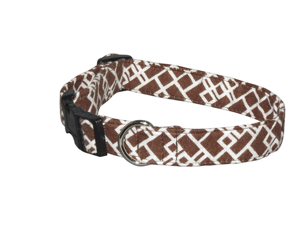 Elmo's Closet Brown Geometric Dog Collar