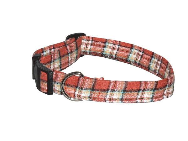 Elmo's Closet Papaya Plaid Dog Collar