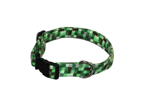 Elmo's Closet Green Checks Dog Collar