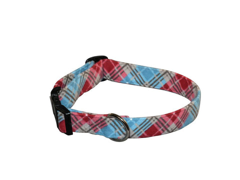 Elmo's Closet Red & Blue Plaid Dog Collar