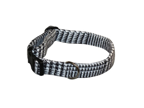 Elmo's Closet Black & White Plaid Dog Collar