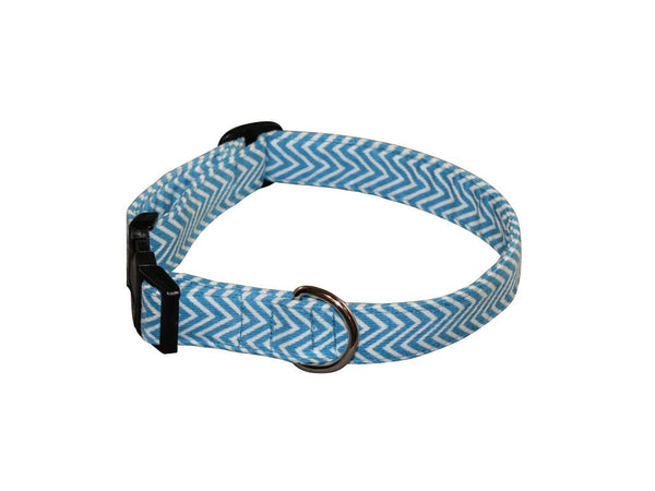 Elmo's Closet Aqua Chevron Dog Collar