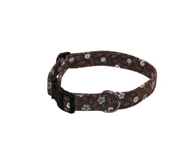 Elmo's Closet Brown Floral Dog Collar