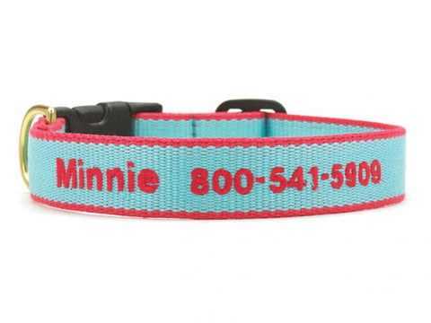 Personalized Bamboo Dog Collar - Aqua/Coral