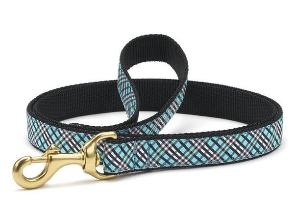 Up Country Aqua Plaid Dog Leash