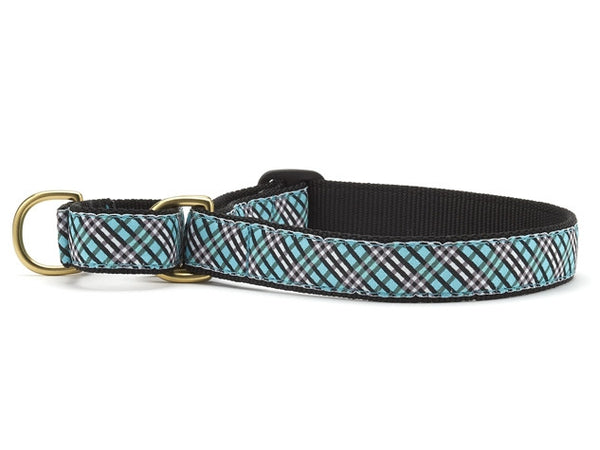 Up Country Aqua Plaid Martingale Dog Collar
