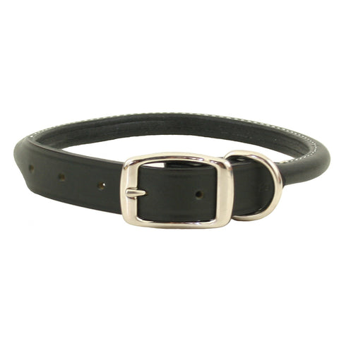 Super Soft Rolled Leather Dog Collar - Black