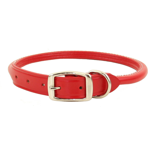 Super Soft Rolled Leather Dog Collar - Red