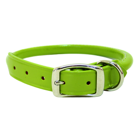 Super Soft Rolled Leather Dog Collar - Green