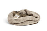 Cat sleeping in Big Shrimpy Den Dog & Cat Bed - Walnut