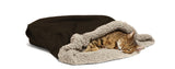 cat sleeping in Big Shrimpy Den Dog & Cat Bed - Coffee