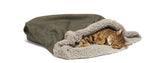 Cat inside of Big Shrimpy Den Dog & Cat Bed - Stone