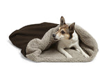 Dog snuggling in Big Shrimpy Den Dog & Cat Bed - Coffee